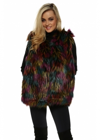 Multi Coloured Faux Fur Long Gilet
