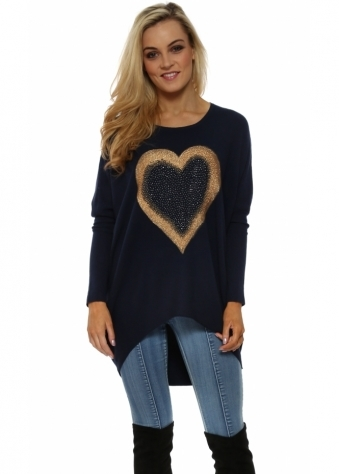 Navy Sparkling Gold Heart Rib Knit Jumper