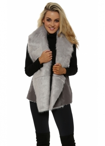 Grey Faux Fur Shearling Zip Detail Gilet