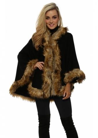 Black Hooded Fox Faux Fur Swing Cape