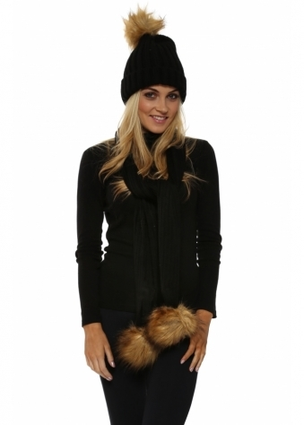 Black Faux Fur Fox Bobble Cable Knit Scarf & Hat