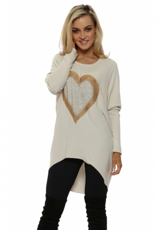 Cream Sparkling Gold Heart Oversized Jumper