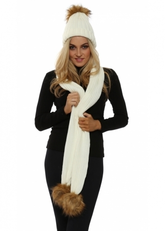 Cream Faux Fur Fox Bobble Cable Knit Scarf & Hat