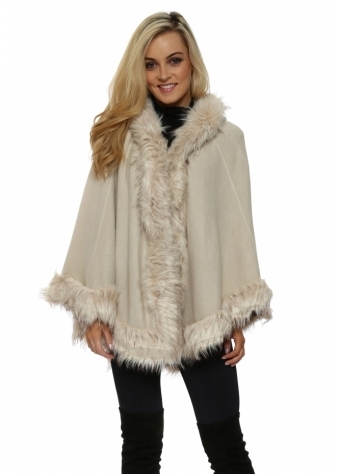 Beige Hooded Faux Fur Swing Cape