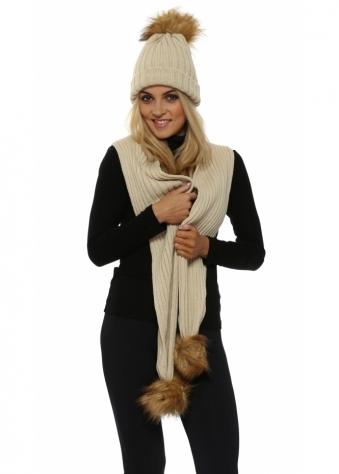 Beige Faux Fur Fox Bobble Cable Knit Scarf & Hat