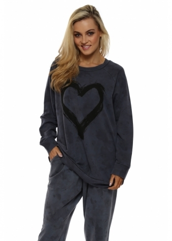 Toni Tender Trap Heart Motif Sweater In Wet Slate