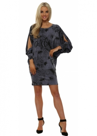 Delila Dandy Lion Tunic Dress In Wet Slate