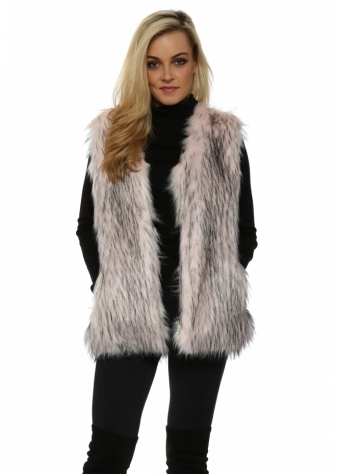 Baby Pink Faux Fur Long Gilet
