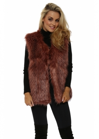 Dusky Pink Faux Fur Long Gilet