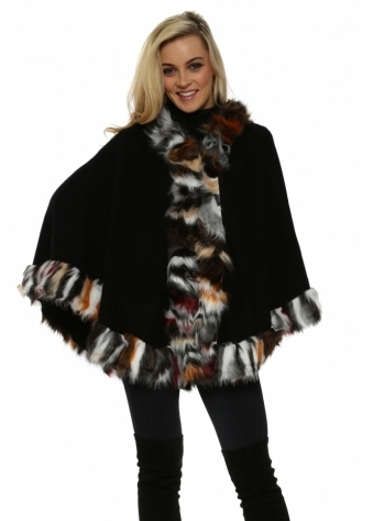 Black Hooded Multi Coloured Faux Fur Swing Cape