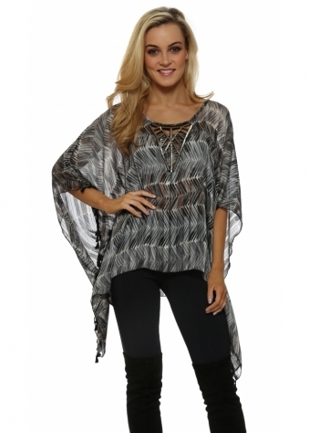 Grey Print Beaded Tassle Kaftan Top