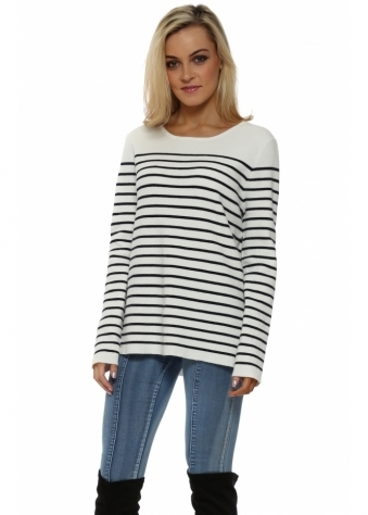 Nautical Stripe Corset Tie Back Jumper