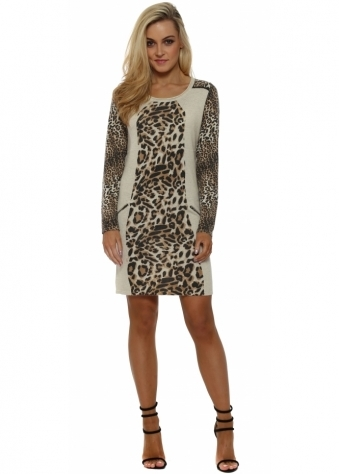 Beige Leopard Print Jumper Dress