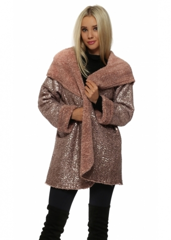 Dusky Pink Fully Sequinned Hooded Coat