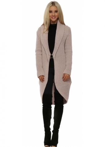 Pink Cable Knit Pin Front Long Cardigan Coat