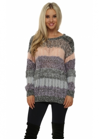 Portabello Multi Stitch Colour Block Jumper