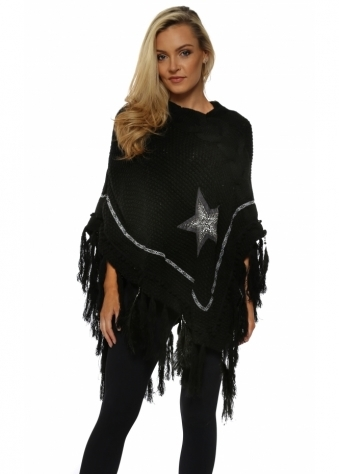 Black Cable Knit Jewelled Star & Feather Poncho