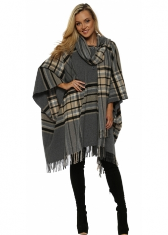 Grey & Beige Tartan Fringed Cape Coat With Long Scarf