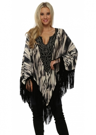 Black Animal Print Suede Tassle Poncho