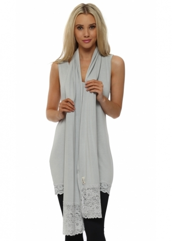 Ella Putty Jersey Lace Edge Scarf