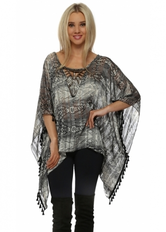Grey Snake Print Beaded Tassle Kaftan Top