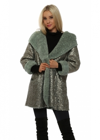 Green Fully Sequinned Hooded Coat