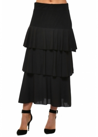 Lulu Tiered Ruffle Black Skirt