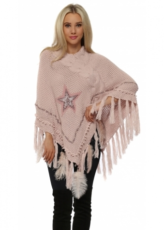 Baby Pink Cable Knit Jewelled Star & Feather Poncho