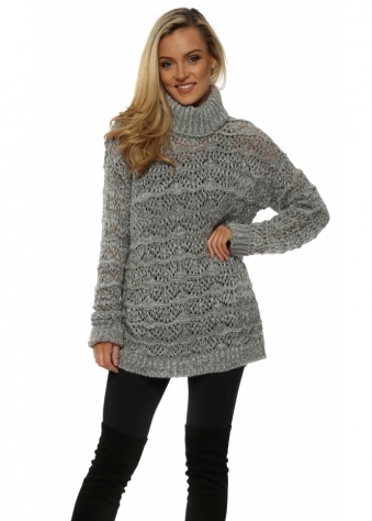 Victoria Ice Cable Roll Neck Jumper