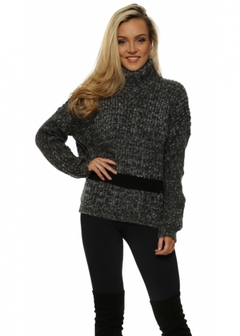 Bold Stripe Anthracite Polo Neck Jumper