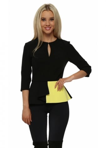 Portland Black & Yellow Peplum Top