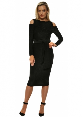 Eden Black Lurex Cold Shoulder Midi Dress