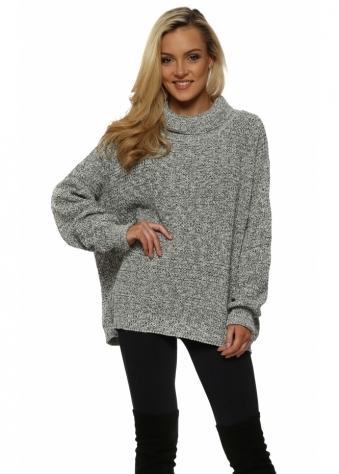 Tweed Ice Roll Neck Slouch Jumper