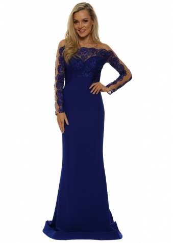 Cobalt Blue Long Sleeve Lace Evening Dress