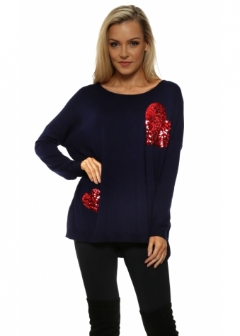 Red Double Heart Sequinned Navy Jumper