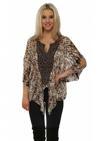 Animal Print Tie Front Beaded Neckline Top