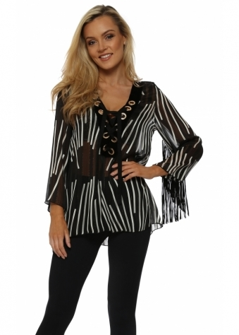 Monochrome Stripe Bell Sleeve Top With Eyelet Ties