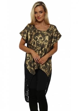 Paloma Gold Paisley & Lace Dip Hem Tunic Top