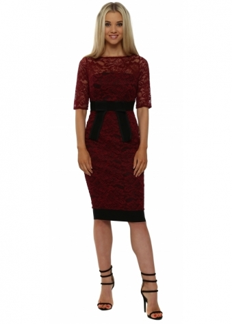 Isabella Wine Lace Bow Detail Pencil Dress
