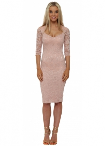 Nude Lace Sweetheart Neckline Midi Dress