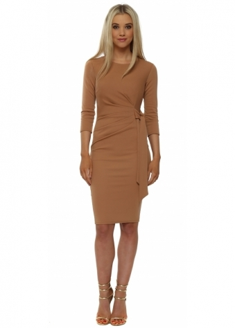Rich Tan Pleated Tie Midi Dress