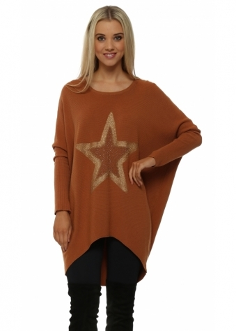 Rust Sparkling Gold Star Rib Knit Jumper