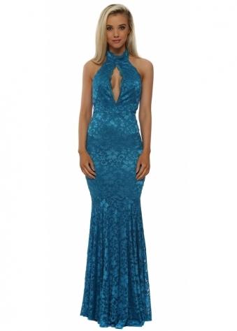Teal Lace Halterneck Keyhole Maxi Dress