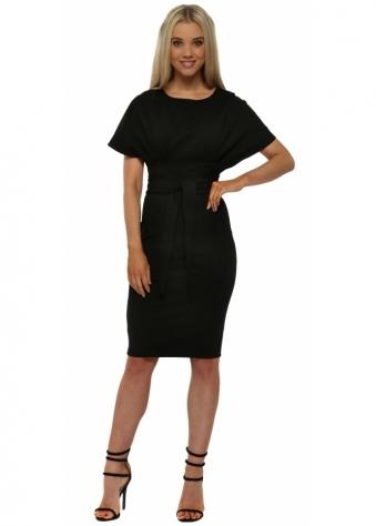 Black Kimono Sleeve Tie Waist Midi Dress