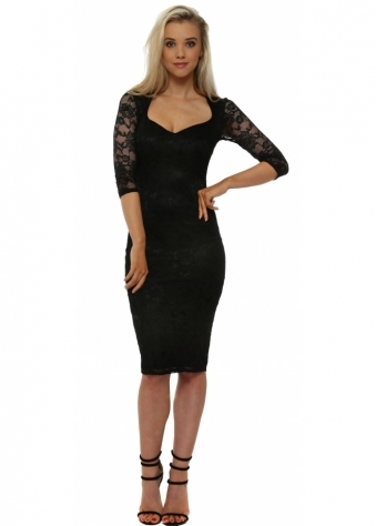 Black Lace Sweetheart Neckline Midi Dress