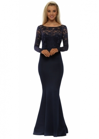 Navy Blue Lace Overlay Bow Waterfall Maxi Dress