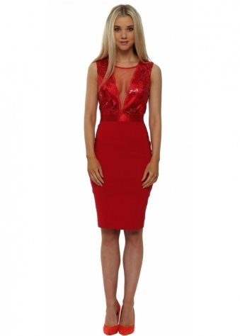 Scarlet Red Sequinned Sleeveless Midi Dress