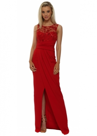 Red Star Sequinned Grecian Wrap Maxi Dress