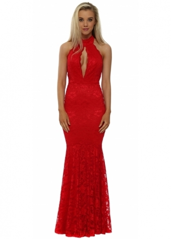 Red Lace Halterneck Keyhole Maxi Dress