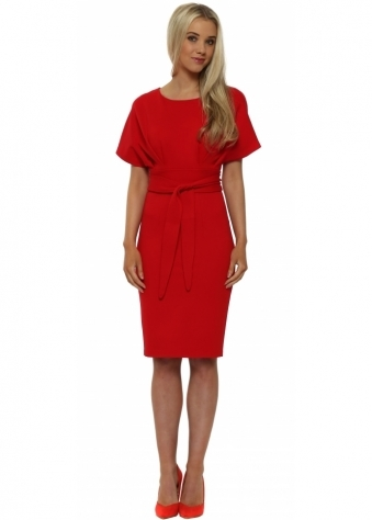 Red Kimono Sleeve Tie Waist Midi Dress